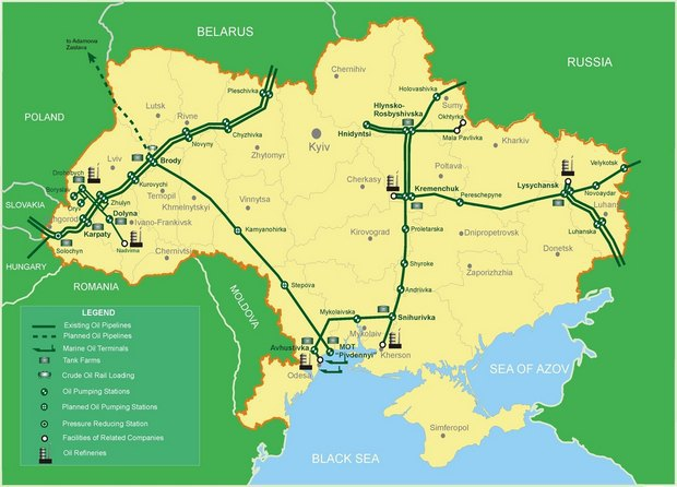 Ukrtransnafta Begins Transportation Of Azerbaijani Oil To - Kremenchuk map